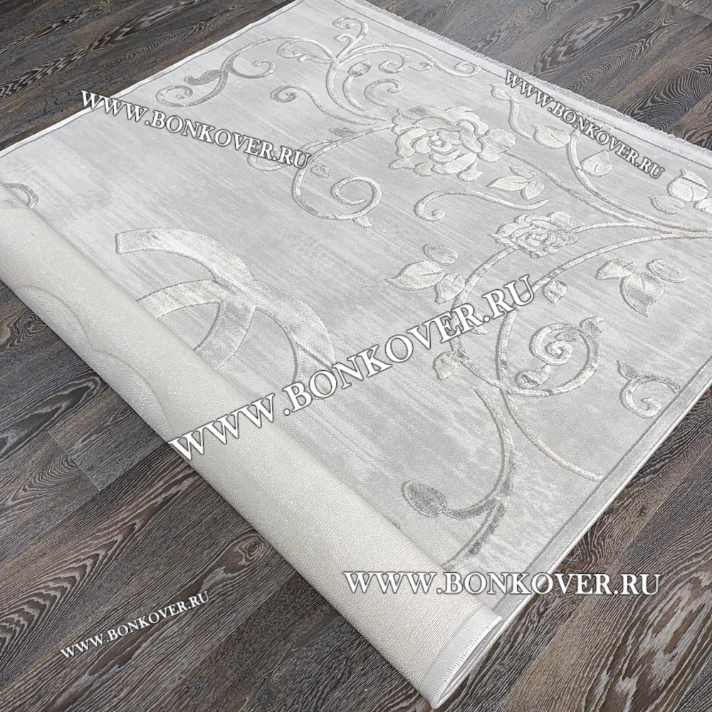 Ковер Турция New Для Гостиной Дизайн 04 Светло-Серый с Бежевым