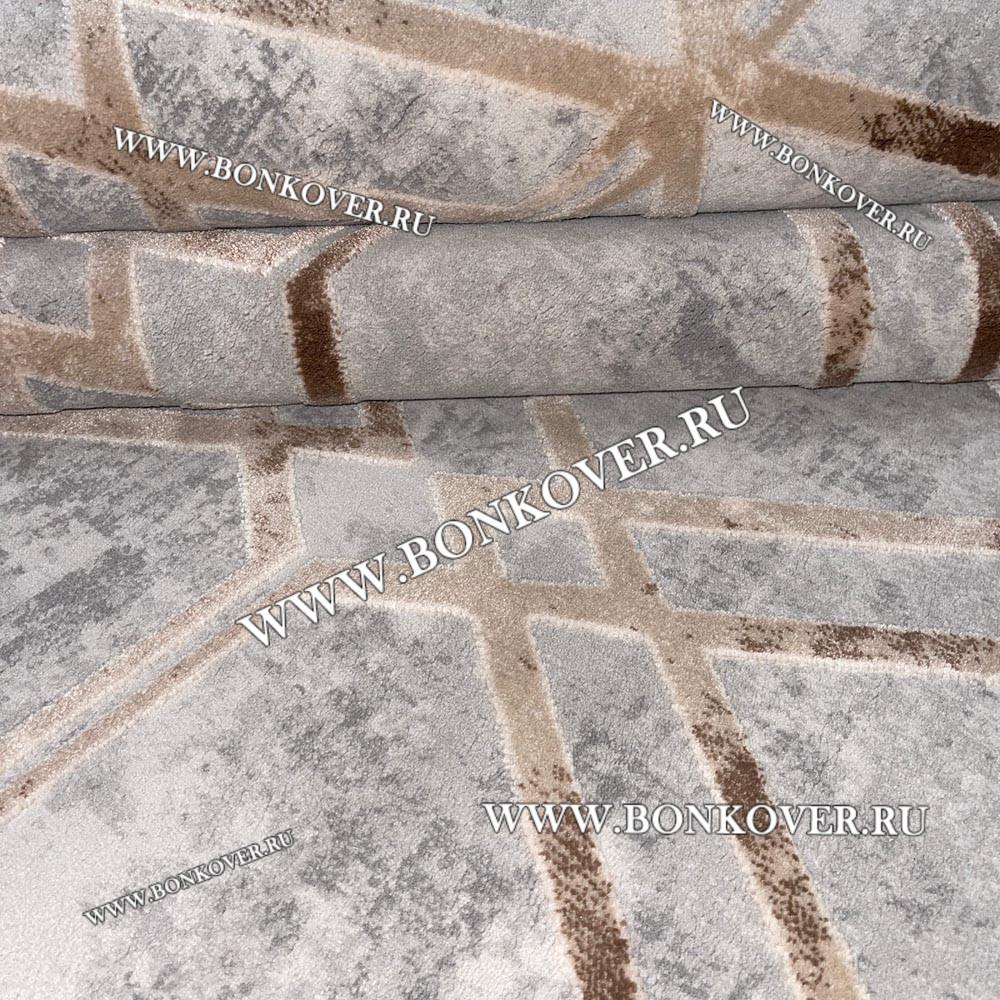 Ковер Турция New Для Гостиной Дизайн 11 Серый с Бежевым Геометрия