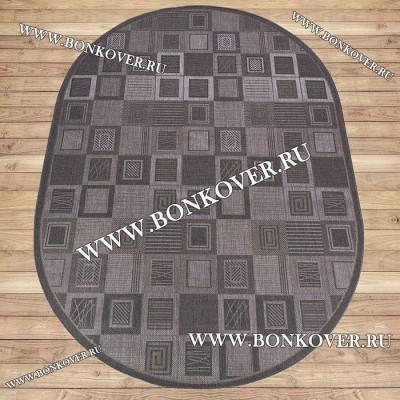 Безворсовый Ковер Дизайн 11 Серый Овал