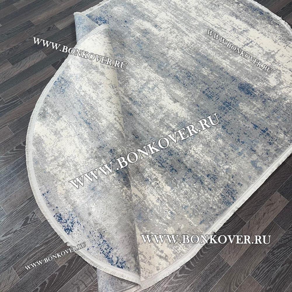 Современный Турецкий Ковер Серый с Синим Дизайн 10 Овальный