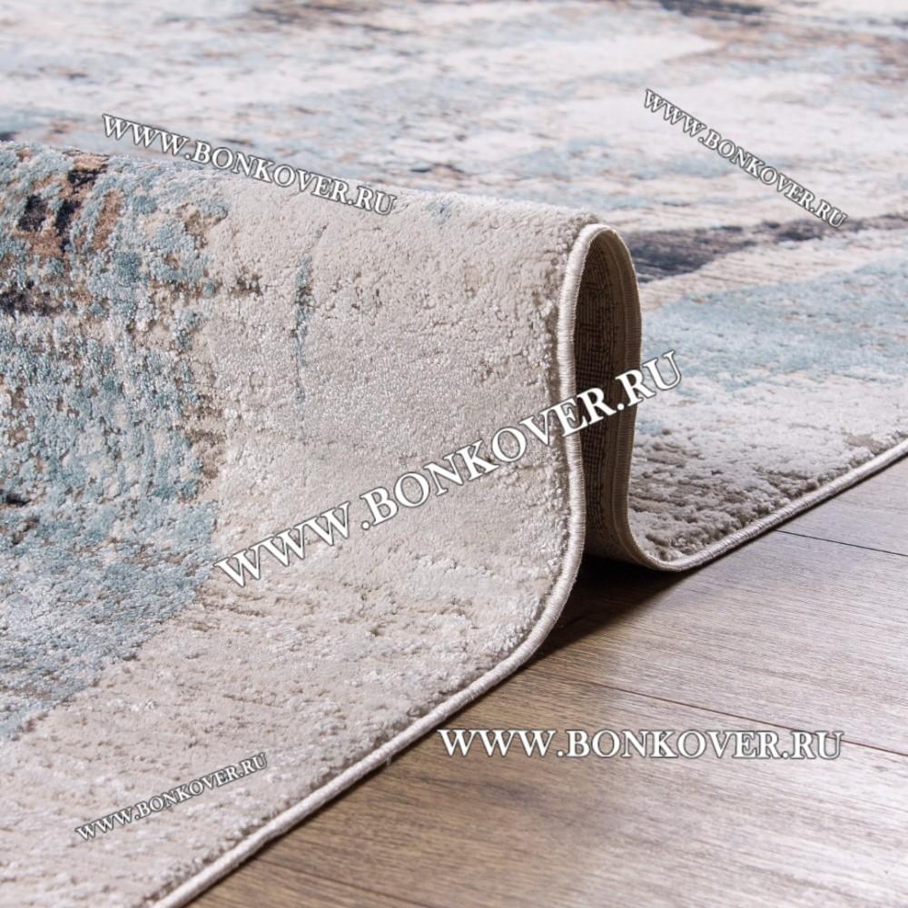 Турецкий Ковер Лофт Дизайн 01 Серый с Голубым Прямоугольный