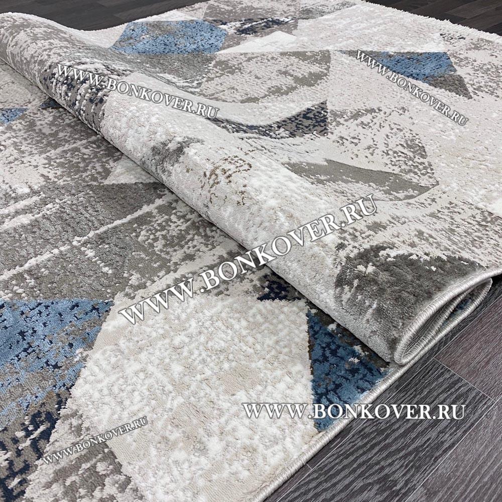 Ковер Коротковорсный Лайт Дизайн 01 Синий с Серым