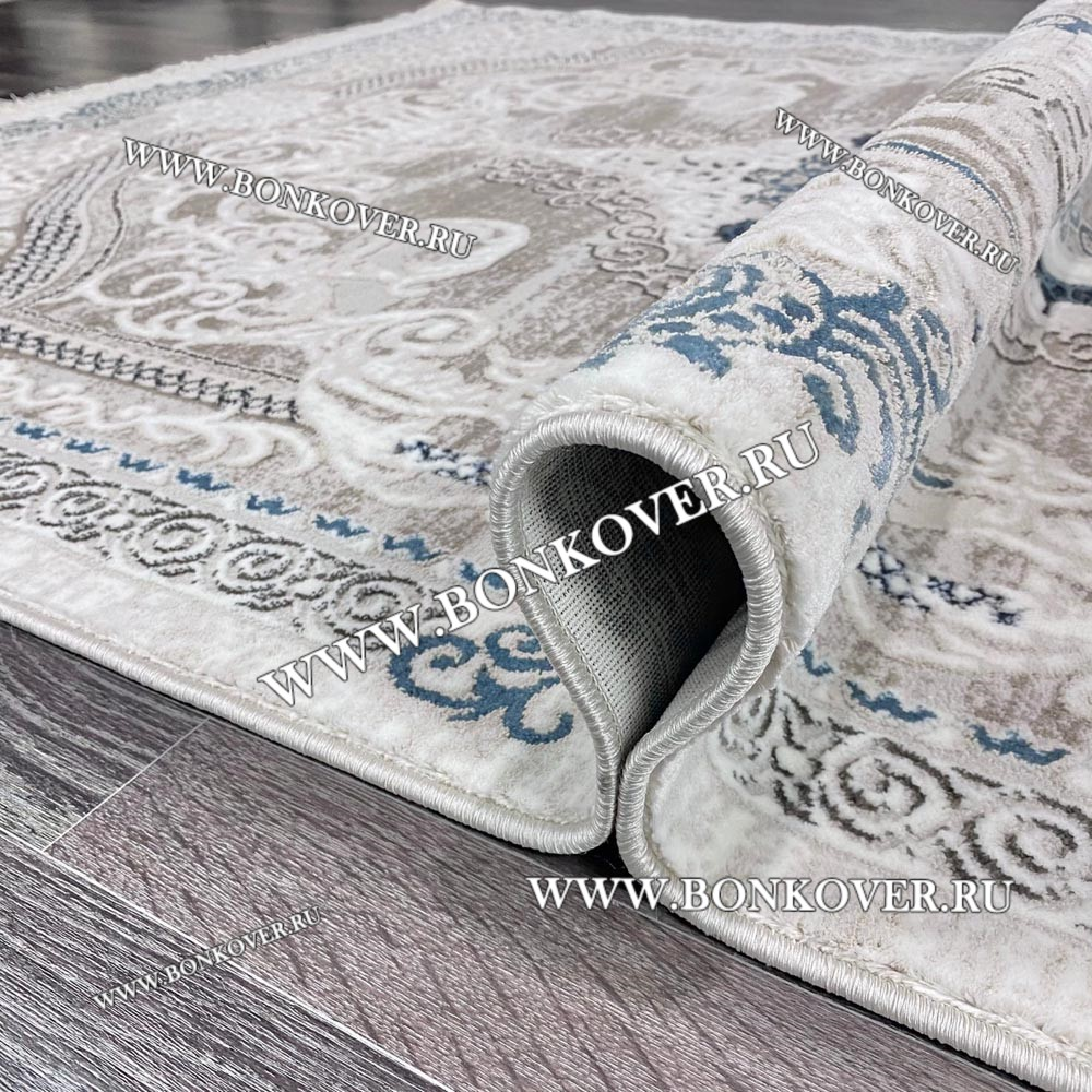Ковер Коротковорсный Лайт Дизайн 02 Синий с Серым