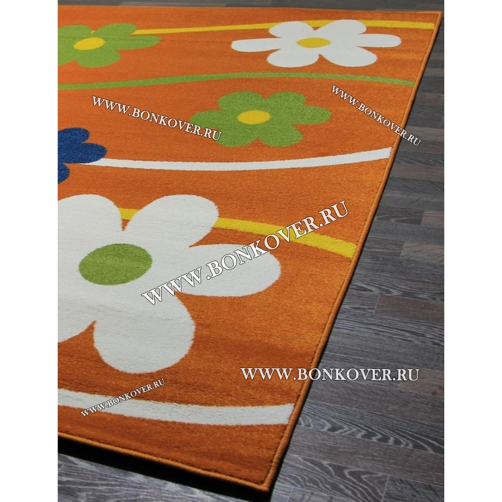 Детский Ковер Дизайн 079 Ромашки Оранжевый Прямоугольник