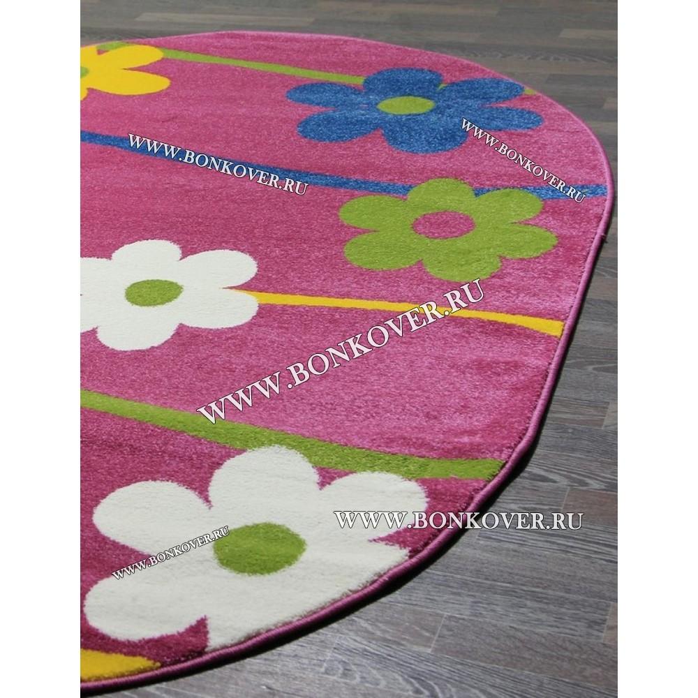 Детский Ковер Дизайн 079 Ромашки Розовый Овал