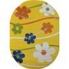 Детский Ковер Дизайн 079 Ромашки Желтый Овал