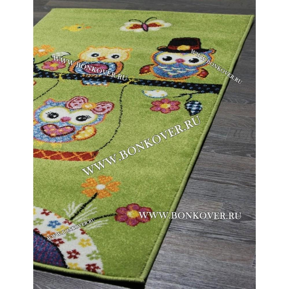 Детский Ковер Дизайн 069 Совята Зеленый Прямоугольник