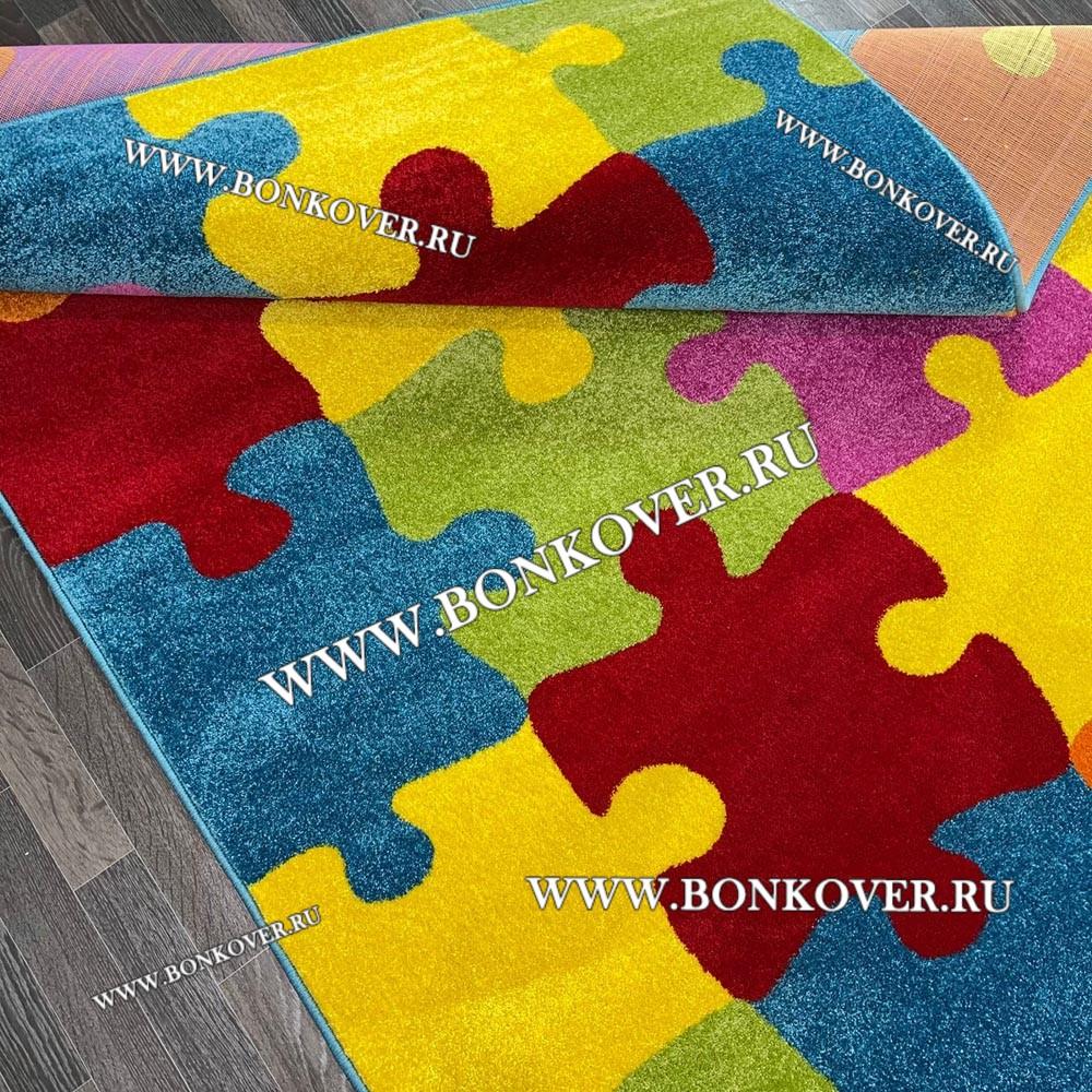 Детский Ковер Разноцветный Пазл Прямоугольник