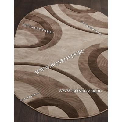 Ковер Рельефный Дизайн 06 Бежево-коричневый Овальный
