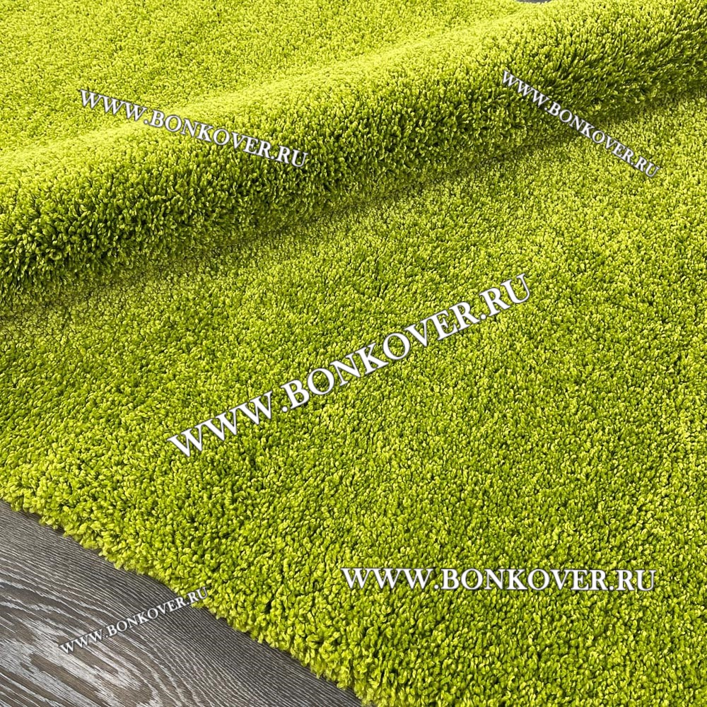 Ковер С Длинным ворсом Однотонный Зеленый Прямоугольный