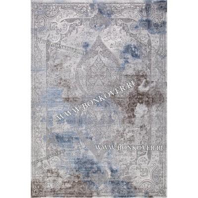 Турецкий Ковер Для Гостиной Дизайн 32 Синий с Серым Прямоугольный