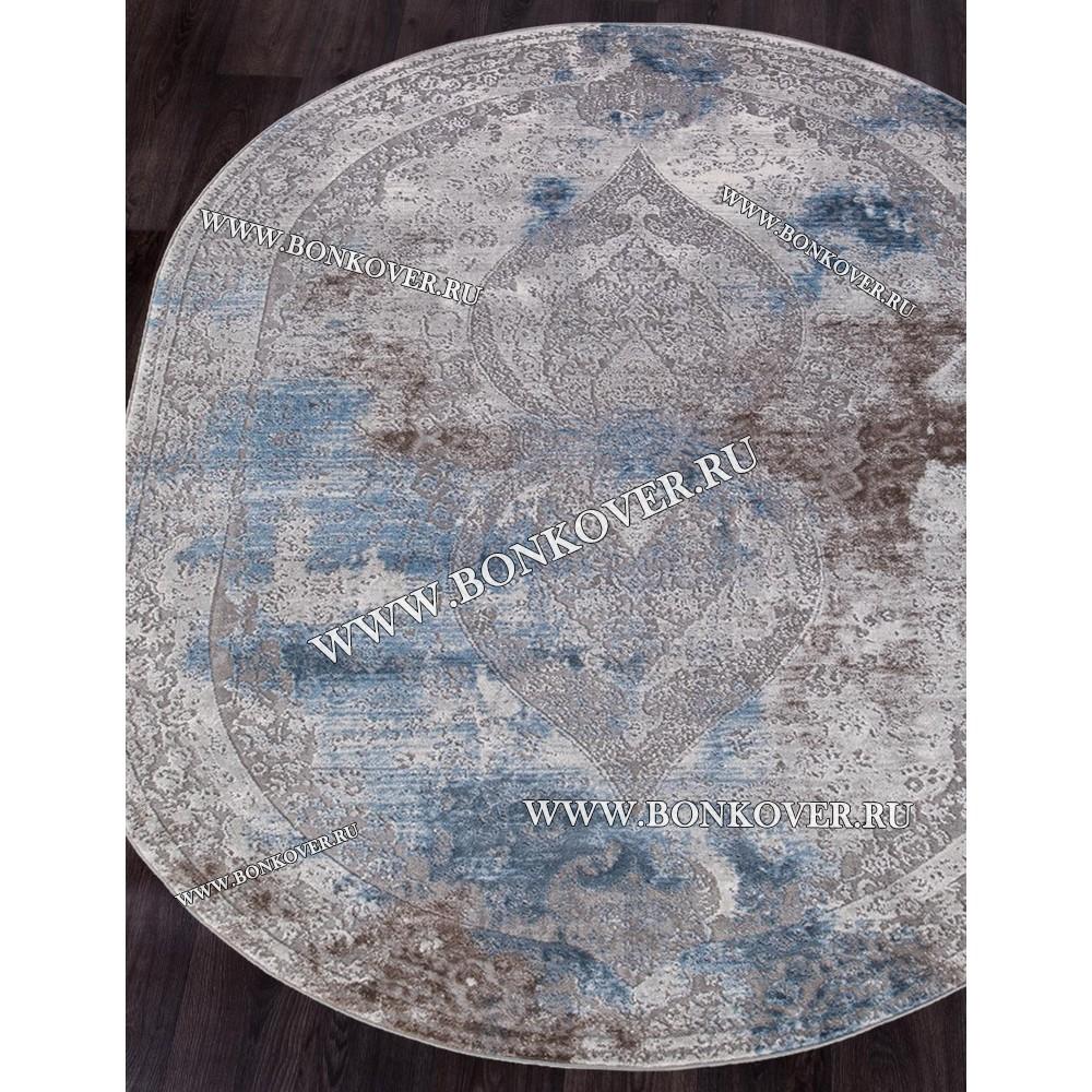 Турецкий Ковер Для Гостиной Дизайн 32 Синий с Серым Овальный