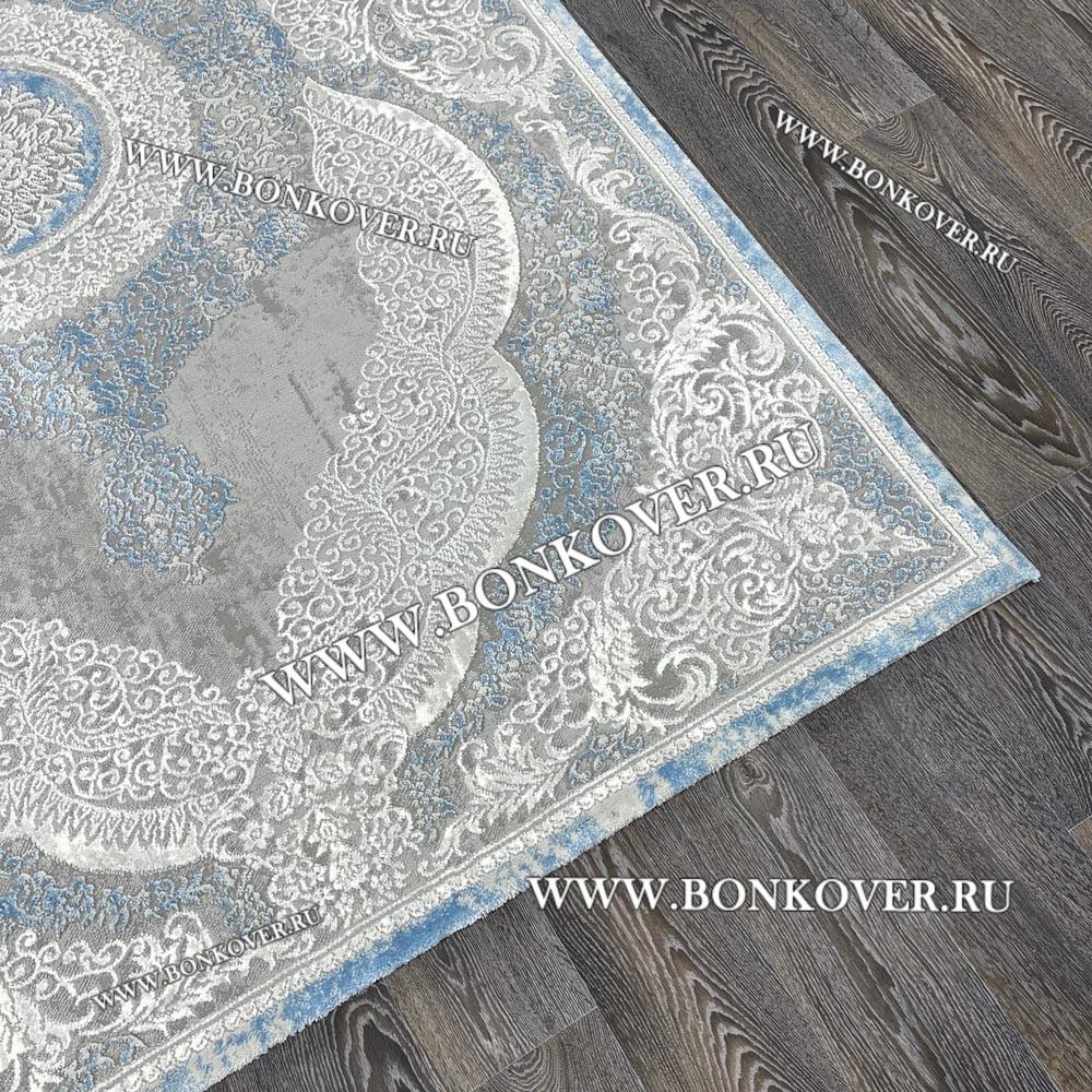 Турецкий Ковер Для Гостиной Дизайн 33 Синий с Серым Прямоугольный