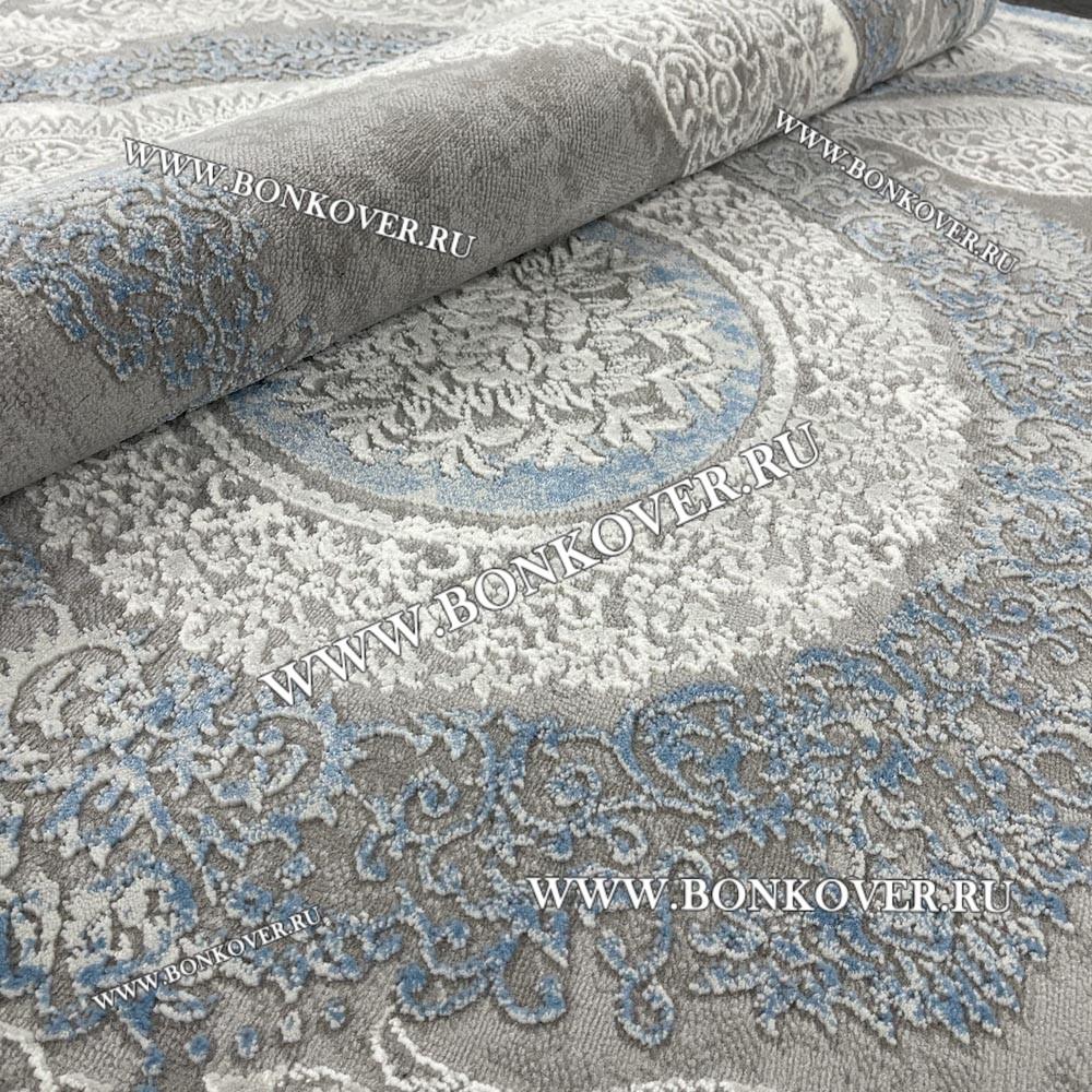 Турецкий Ковер Для Гостиной Дизайн 33 Синий с Серым Круг